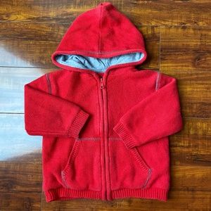 Baby Gap Red Cable Knit Zip Up Hoodie 18-24m